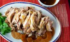Pulled pork with pineapple, soy, vinegar and maple syrup